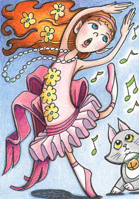 Faeries Drawing - Mina And Cookie by Amy S Turner