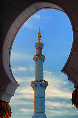 Photograph - Minaret Of Mosque, Abu Dhabi, United Arab Emirates. Typical Sunset Sky With Colorful Clouds by Marek Kijevsky