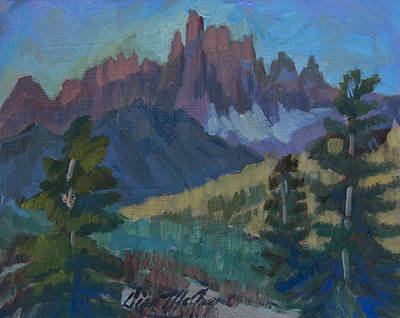Ski Painting - Minarets Vista At Mammoth Mountain by Diane McClary