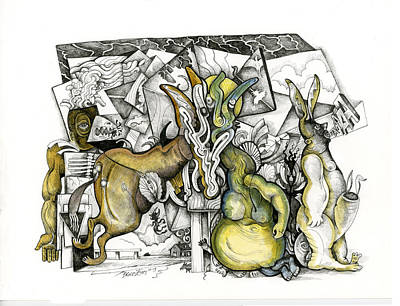 Tower Of Babel Drawing - Mind Meld by Bruce Zeines