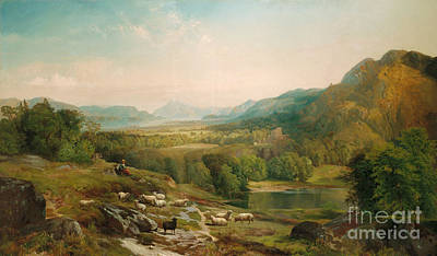 The Shepherdess Painting - Minding The Flock by Thomas Moran