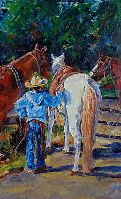Cattle Roundup Painting - Minding The Horses by Susan Barri