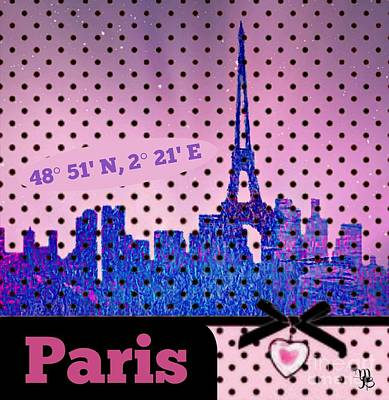 Paris Skyline Royalty-Free and Rights-Managed Images - Mindy Jos Paris  by Mindy Bench
