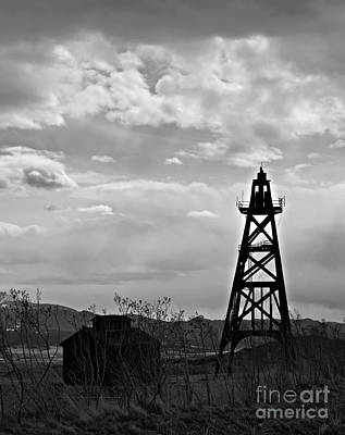 Photograph - Mine Headframe Bw by Chalet Roome-Rigdon