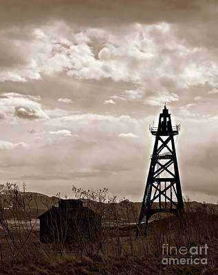 Photograph - Mine Headframe Sepia by Chalet Roome-Rigdon
