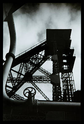 Poppet Photograph - mine shaft silhouette BW by Dirk Ercken