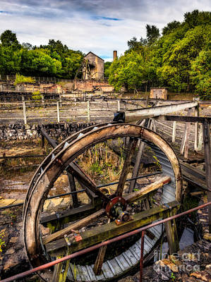 Dilapidated Digital Art - Mine Wheel by Adrian Evans