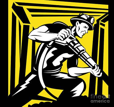 Miner With Pneumatic Drill  Art Print by Aloysius Patrimonio