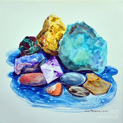 Minerals And Beachstones Art Print by Joan Hartenstein