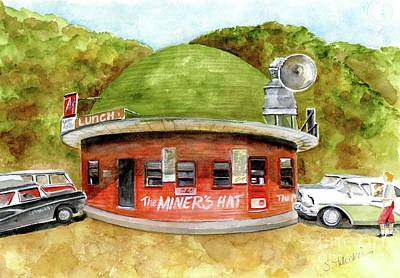Drive In Painting - Miner's Hat Drive In by Sheryl Heatherly Hawkins