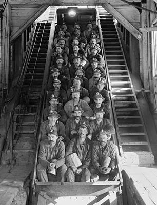 Miners In An Open Tram At The Calumet Print by Everett