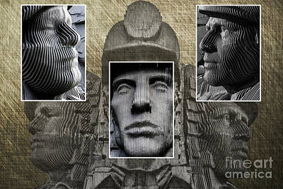 Photograph - Miners Triptych by Steve Purnell