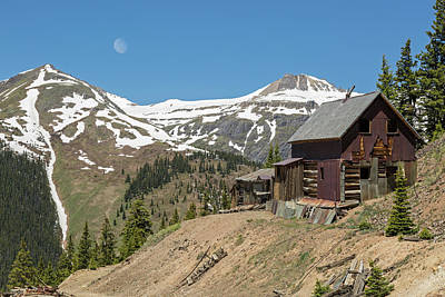 Photograph - Miner's View With Setting Moon by Denise Bush