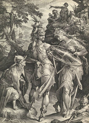 Relief - Minerva And Mercury Arming Perseus by Bartholomeus Spranger