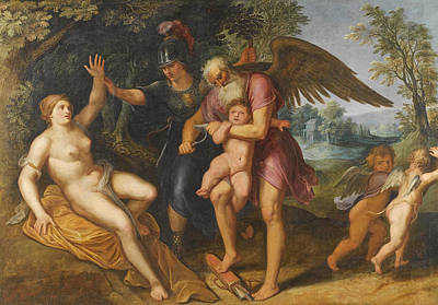 Painting - Minerva And Time Clipping Cupid's Wings by Flemish School