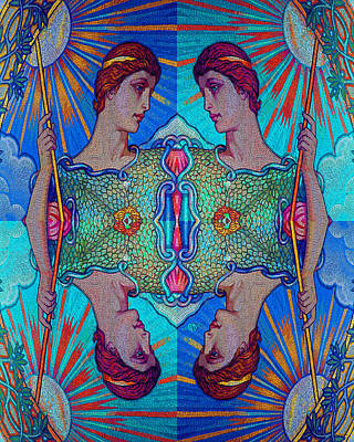 Painting - Minerva Goddess Of Wisdom Surreal Pop Art 1 by Tony Rubino