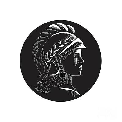 Minerva Head Side Profile Oval Woodcut Art Print