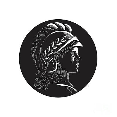 Minerva Head Side Profile Oval Woodcut Art Print by Aloysius Patrimonio