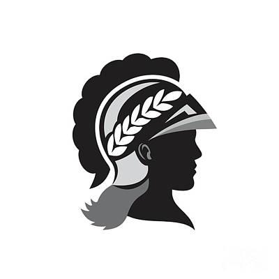 Warrior Goddess Digital Art - Minerva Head Side Silhouette Retro by Aloysius Patrimonio
