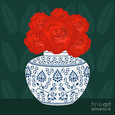 Potted Plant Digital Art - Ming Vase With Roses by Claire Huntley