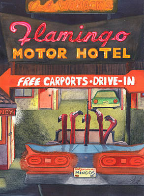 Flamingo Hotel Wall Art - Painting - Mingos by Catherine G McElroy