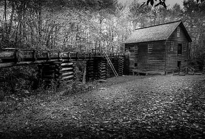 Art Print featuring the photograph Mingus Mill Black And White by David Morefield
