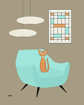 Digital Art - Mini Abstract Blue Chair Orange Cat by Donna Mibus