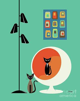 Digital Art - Mini Concentric Squares With Two Cats by Donna Mibus