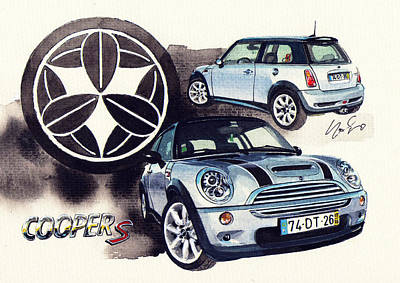 Family Crest Painting - Mini Cooper S Supercharger by Yoshiharu Miyakawa