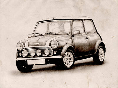 Vehicles Drawing - Mini Cooper Sketch by Michael Tompsett