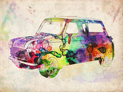Funky Digital Art - Mini Cooper Urban Art by Michael Tompsett