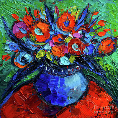 Gesture Painting - Mini Floral On Red Round Table by Mona Edulesco