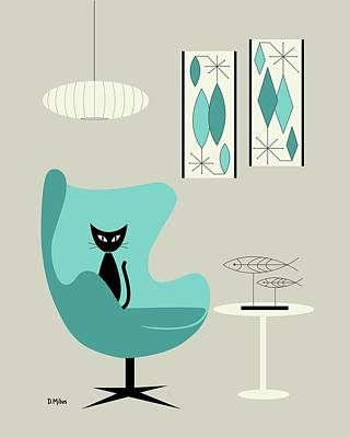 Eames Chair Wall Art - Digital Art - Mini Gravel Art On Gray With Black Cat by Donna Mibus