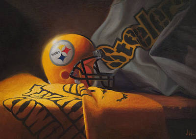 Art Print featuring the painting Mini Helmet Commemorative Edition by Joe Winkler