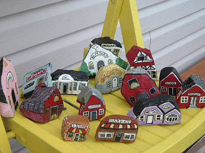 Mini Houses On A Chair Art Print by Barbara Griffin