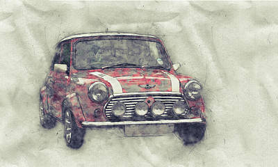Mixed Media - Mini Marque 1 - Bmw - 1959s - Automotive Art - Car Posters by Studio Grafiikka