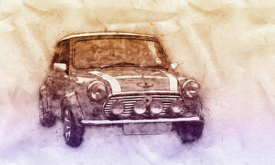 Mixed Media - Mini Marque 2 - Bmw - 1959s - Automotive Art - Car Posters by Studio Grafiikka