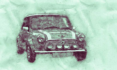 Mixed Media - Mini Marque 3 - Bmw - 1959s - Automotive Art - Car Posters by Studio Grafiikka