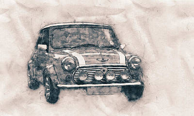 Mixed Media - Mini Marque - Bmw - 1959s - Automotive Art - Car Posters by Studio Grafiikka