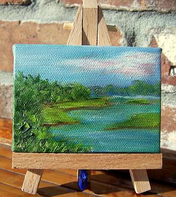 Painting - Mini Marsh Miniature With Easel by Susan Dehlinger