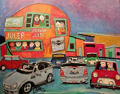 Painting - Mini Night At The Orange Julep by Michael Litvack