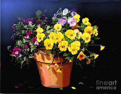Miniature Watercolors Painting - Mini Pansy Pot by Robert Foster