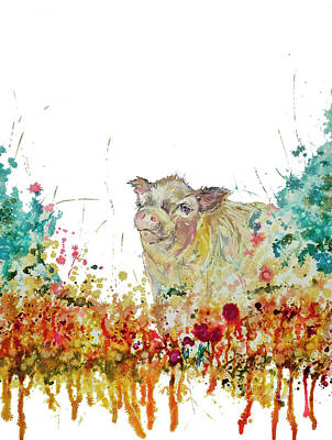 Wall Art - Painting - Mini Pig Painting by Kim Guthrie