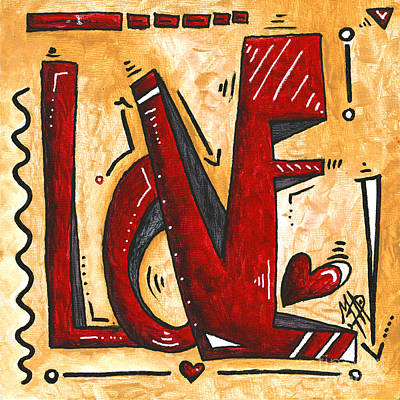 Mini Pop Art Gold Red Love Original Painting By Madart Original by Megan Duncanson