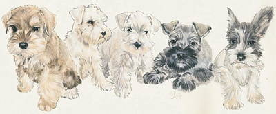 Mini Schnauzer Puppies Art Print