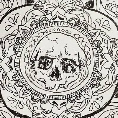 Illustrations Drawing - Skull Mandala by Faithc Original Artwork