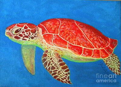 Fish Underwater Painting - Mini Turtle by JoAnn Wheeler