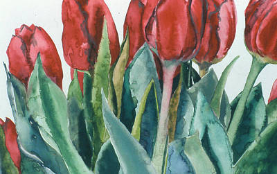 Mini-valentine Tulips - 2 Art Print by Caron Sloan Zuger
