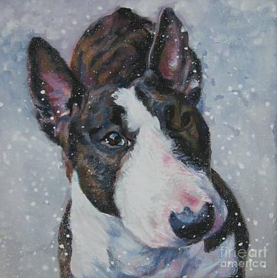 Bull Terrier Painting - Miniature Bull Terrier In Snow by Lee Ann Shepard