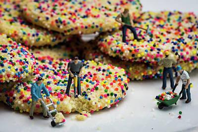 Miniature Construction Workers On Sprinkle Cookies Art Print